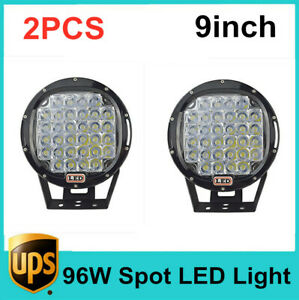 Pair 96W Round 9inch Led Spot Driving Work Light Offroad Fogs Truck 4X4WD Bumper