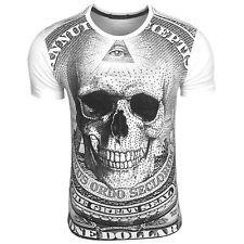 Tee Shirt Homme Tete De Mort Avec Strass Col Rond - 1078
