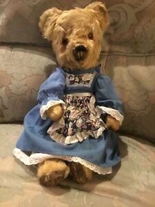 MABEL - BEAUTIFUL OLD GOLD CHILTERN ANTIQUE TEDDY BEAR 1930s DRESSED