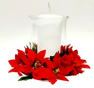 """10"""" Red Poinsettia Pillar Candle Ring 5"""" Opening Christmas (Flower Decor Only)"""