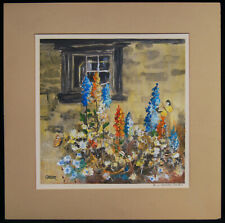 """Edward Shaver """"In A Country Garden"""" Signed Mixed Media Original Framed 17x17"""""""