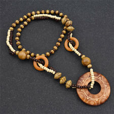 Vintage Round Wooden Hand Carved Sweater Necklace Pendant Women Jewelry Gifts
