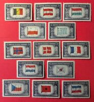 2  SETS! 26 STAMPS 1943 FLAGS OVERRUN NATIONS WWII  #921-934 VF MNH OG FREE SHIP
