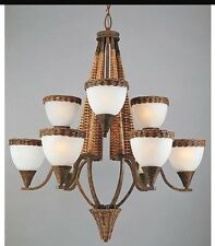 Triarch lighting chandeliers and ceiling fixtures ebay new triarch 29024 bombay 9 light bamboo wicker chandelier 34 diameter 40 high aloadofball Image collections
