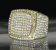 Mens Large Iced Square Pinky Ring Cz Band 14k Gold Plated Hip Hop Fashion