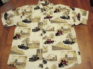 North River Outfitters Classic Trucks and Barns Shirt Size Men Large Button Up