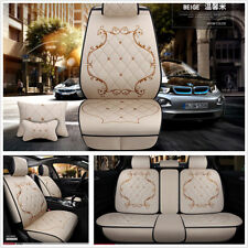 Deluxe Edition Beige England Style Breathable Linen Autos Seat Cover Mat+Pillows