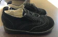 NWT Baby Gap Black Faux Suede Wingtip Oxford Dress Shoe, Sz. 7