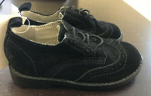 NWT Baby Gap Black Faux Suede Wingtip Oxford Dress Shoe, Sz. 8