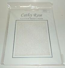 "Cathy Rose Glitter Pantyhose 100% Nylon WHITE Sheer Regular Fits 5'-5'10"" NIP"
