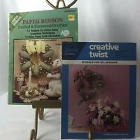 Vtg 1988 Lot/2 Twisted Paper Crafts & Paper Ribbon Puffed Flowered Pretties 80's