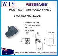 BULGIN-POWER INLET,IEC,TWIN FUSED,PANEL MOUNT,5x20mm-PF0033/30/63