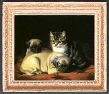 KITTEN & PUG PUPS Dollhouse Picture - FRAMED Ca t- Dog Art - MADE IN AMERICA