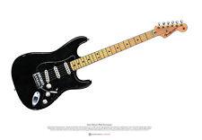 David Gilmour's Black Stratocaster ART POSTER A2 size