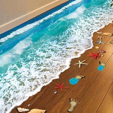 3D Living Room Ceiling Beach Wall Stickers Bathroom Floor Waterproof Vinyl PVC
