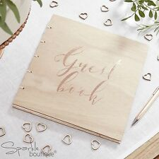 WOODEN GUEST BOOK WITH ROSE GOLD SCRIPT - Beautiful Botanics Wedding/Party Range