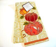 Artistic Accents Pumpkin Trio Kitchen Tea Towel Embroidered Applique Cotton A