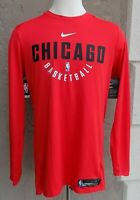 Nike Men's Long Sleeve Basketball Shirt NBA Chicago Bulls Red Large L TALL LT