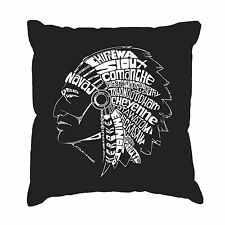 Throw Pillow Cover - Word Art - POPULAR NATIVE AMERICAN INDIAN TRIBES
