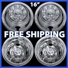 "4 FORD 16"" Dual Steel Wheel Simulators Dually 8 Lug Rim Skins Liners Covers RV"