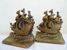 Vintage Sailing Ship Bookends Solid Cast Bronze Finish Philadelphia Mfg Co. Usa