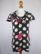 Yumi Long Pullover Stoff Ketten Verzierung ausgefallen floral Punkte Dessin S/M