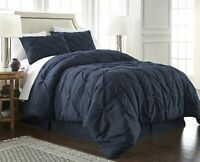 Chezmoi Collection Luxurious Navy Pintuck Pinch Pleated Comforter Set