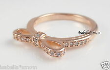 SPARKLING BOW 100% Genuine PANDORA Clear CZ Stones/ROSE GOLD Plated RING Sz 5~50