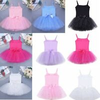 Kids Girls Tulle Ballet Dance Tutu Dress Sparkly Dancewear Glitter Bow Leotard