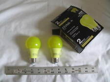 NEW 2-pack Yellow LED Bug Light Bulb 7 watt (40w Replace) A19 Indoor/Outdoor (Z)