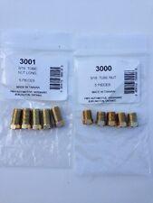 "3/16""x 3/8""-24 Inverted Flare Gold Zinc Tube Nut Fitting Steel Brake Line-10 Pcs"
