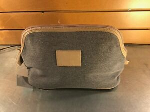 Brouk & Co. Grey/Tan Canvas & Leather Make-up Bag- NWT