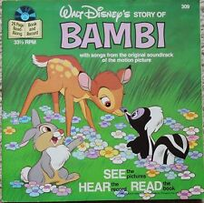 "Walt Disney's Story of Bambi Book & Record 7"" 33rpm 1977 #309 w songs from film"