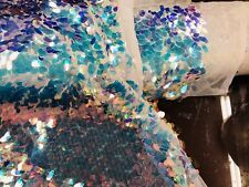 Iridescent Clear Hologram Oval Tear Drop Sequins On A Mesh (White Mesh) By Yard