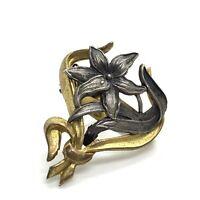 Antique Art Nouveau French Gilt Metal Scarf Clip EBY747