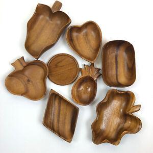 Vintage Wooden Decorative Modern Mid Century fruit trays Plates lot of 8