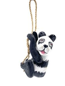 Hand Carved Panda on a Rope Ornament