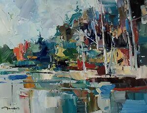 JOSE TRUJILLO Oil Painting IMPRESSIONISM ORIGINAL LANDSCAPE 16X20 MODERN ARTIST