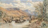 A BRIDGE OVER RIVER IN MOUNTAIN LANDSCAPE Watercolour Painting 19TH CENTURY