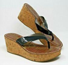 Sam Edelman Size 9.5 M Romy Black Patent Leather Platform Thong Cork Wedge Shoes