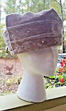 "Vintage Church Lady'S Hat Mr High'S Classic Rhinestone Mauve Wool Velvet 22"" M/L"