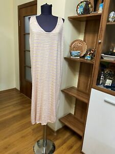 MISSONI THIN KNIT CASHMERE/SILK STRIPED SLEEVELESS RELAXED DRESS-SIZE L