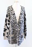 Wildfox Leopard Zebra Animal Print Cardigan Sweater Size M Wool Alpaca