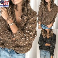 Womens V Neck Long Sleeve Sweater Ladies Loose Knitted Pullover Jumper Tops USA