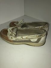 Women's Sperry Top Sider Boat Shoes Beige Silver Leather 6.5
