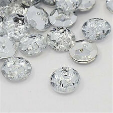100pieces Acrylic Rhinestone Buttons 2-Hole Faceted Flat Round Crystal 13x4.5mm