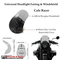 """Universal 7"""" Front Headlight Fairing Adjustable Windshield Cover For Cafe Racer"""