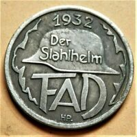 WW.2 GERMANY COMMEMORATIVE COLLECTORS COIN REICHSMARK '32 DER STAHLHELM 24 mm