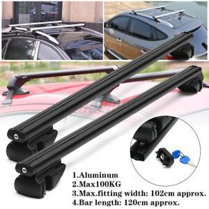 Universal Car Roof Rack Cross Bars Aluminium Black Adjustable 120cm Car 120kgs