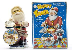Vintage Alps Happy Santa Claus Drummer Christmas Tin Litho Working Excellent Box